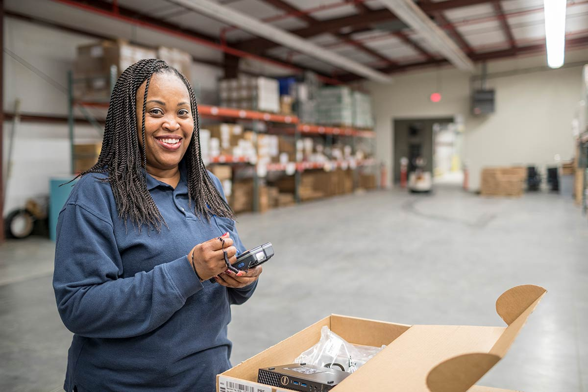 African female in warehouse