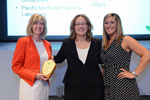 Cindy Snow,  Nancy Gillis and Angela McConnell at the 2016 EPEAT Sustainable Purchaser Award presentation
