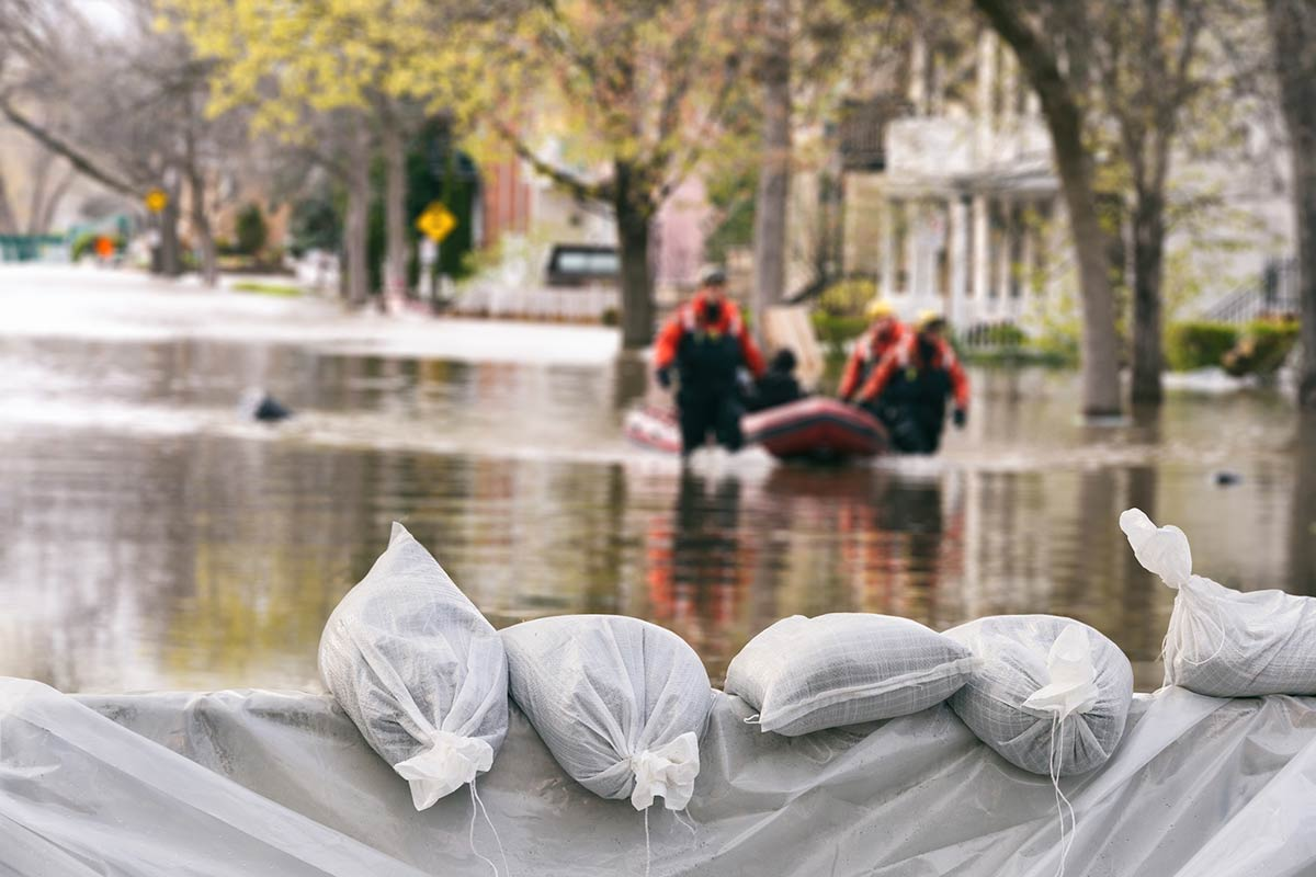 sandbags holding back flood waters